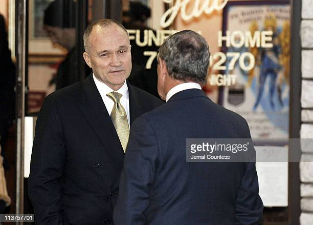 Raymond W Kelly and Mayor Michael Bloomberg at the wake for slain 28yearold NYPD Officer Daniel Enchautegui on December 13 2005