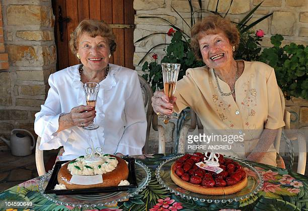 HERBILLON Raymonde and Lucienne who are the oldest identical twins in the world pose on September 20 2010 in SaintGeorgesdeDidonne near the southern...