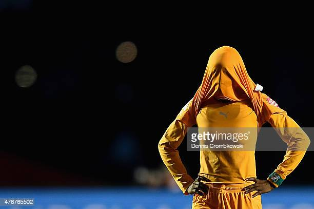 Raymonde Kacou of Cote D'Ivoire looks dejected after the FIFA Women's World Cup Canada 2015 Group B match between Cote D'Ivoire and Thailand at...