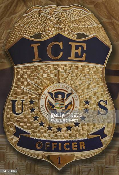 The badge and logo of the US Homeland Security Department of Immigration and Customs Enforcement taken 10 May 2007 is seen at Willacy Detention...