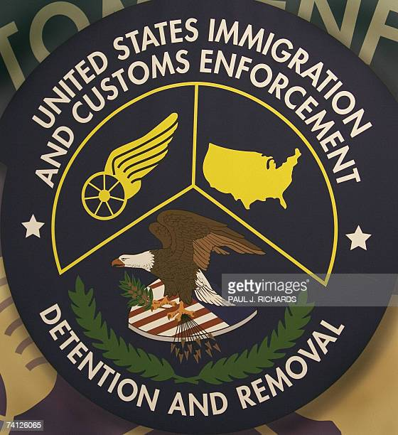 The logo of the US Homeland Security Department of Immigration and Customs Enforcement Detention and Removal unit is seen 10 May 2007 the Willacy...