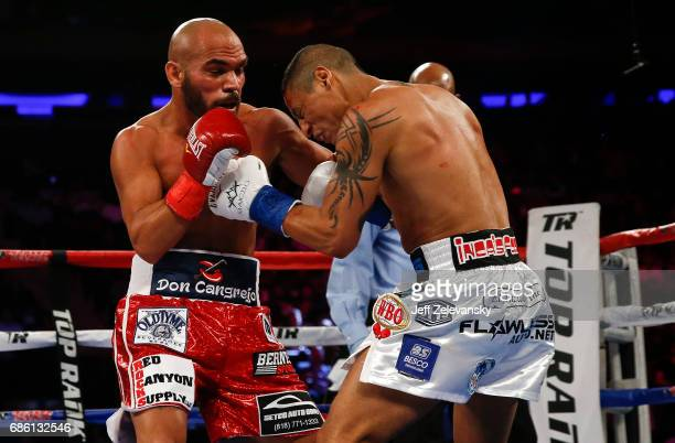 Raymundo Beltran fights with Jonathan Maicelo during their IBF lightweight eliminator bout at Madison Square Garden on May 20 2017 in New York City