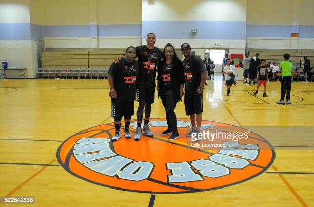 Raynard Westbrook Shannon Westbrook Russell Westbrook and Russell Westbrook Sr attend the Russell Westbrook 5th Annual Why Not Foundation Basketball...