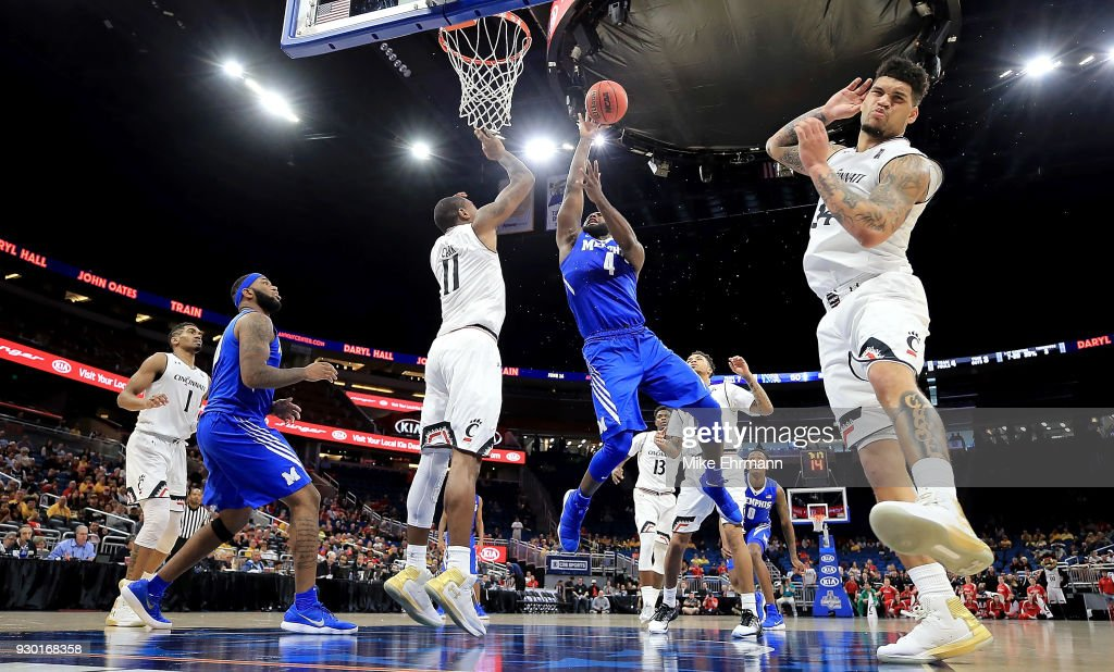 Raynere Thornton #4 of the Memphis Tigers drives to the basket during a semifinal game of the 2018 AAC Basketball Championship against the Cincinnati Bearcats at Amway Center on March 10, 2018 in Orlando, Florida.