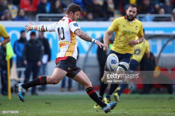 Raynor Parkinson of Germany kicks the ball during the European Shield Rugby match between Germany and Romania at SpardaBankHessenStadion on February...