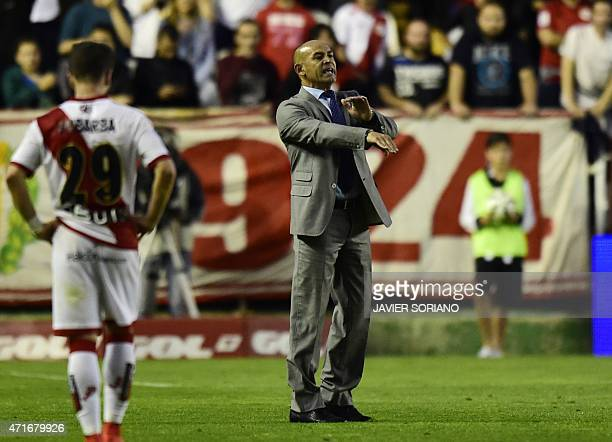 Rayo Vallecano's coach Paco Jemez gestures after being expelled by referee during the Spanish league football match Rayo Vallecano de Madrid vs...