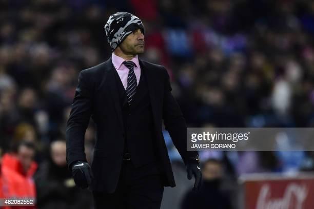 Rayo Vallecano's coach Paco Jemez looks on during the Spanish League football match Atletico de Madrid vs Rayo Vallecano at Vicente Calderon stadium...