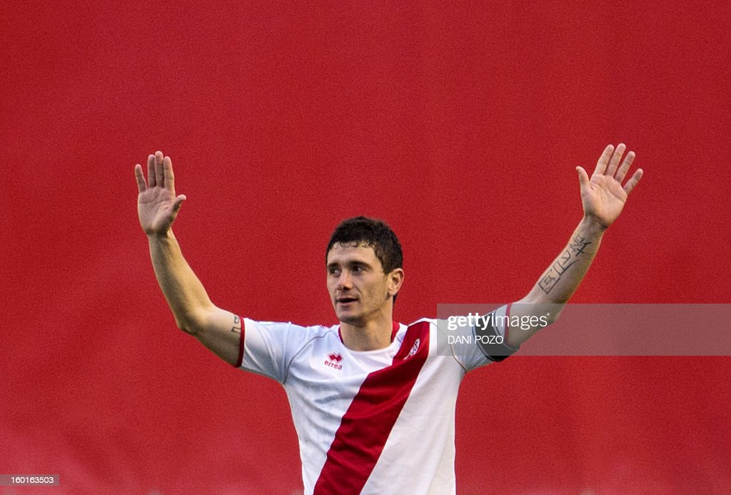 Rayo Vallecano's forward Piti celebrates after scoring during the Spanish league football match Rayo Vallecano vs Betis at the Vallecas stadium in Madrid on January 27, 2013.