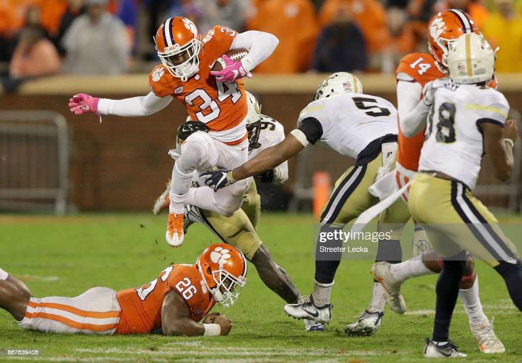 Ray-Ray McCloud #34 of the Clemson Tigers runs with the ball against the Georgia Tech Yellow Jackets during their game at Memorial Stadium on October 28, 2017 in Clemson, South Carolina.