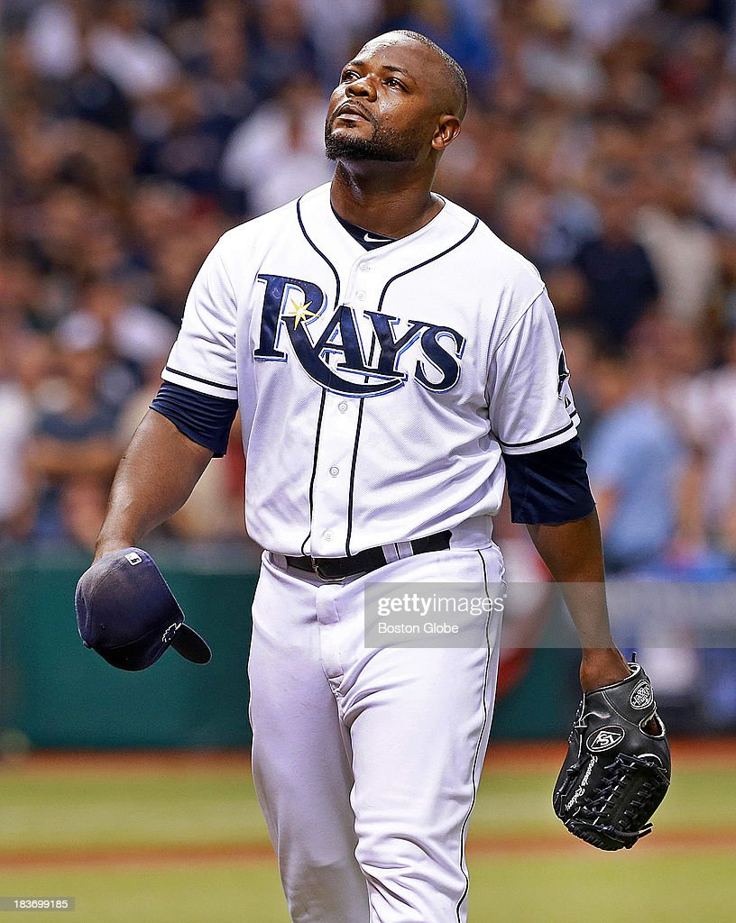 Rays closer Fernando Rodney as he leaves the mound after being removed from the game in the ninth inning. The Boston Red Sox visited the Tampa Bay Rays in Game Four of the ALDS baseball playoffs at Tropicana Field.