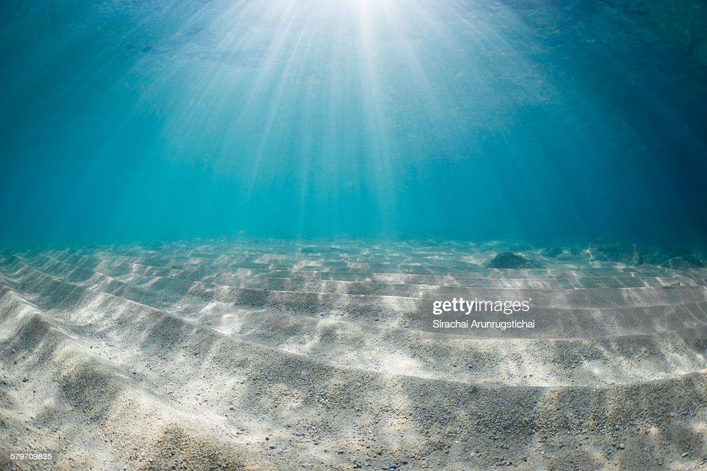 Nice Rays Of Light On Sandy Sea Floor : Stock Photo