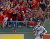 Rays right fielder Wil Myers breaks into a grin as the bleacher fans give him a mock cheer after he caught a routine fly ball in the fifth inning The...