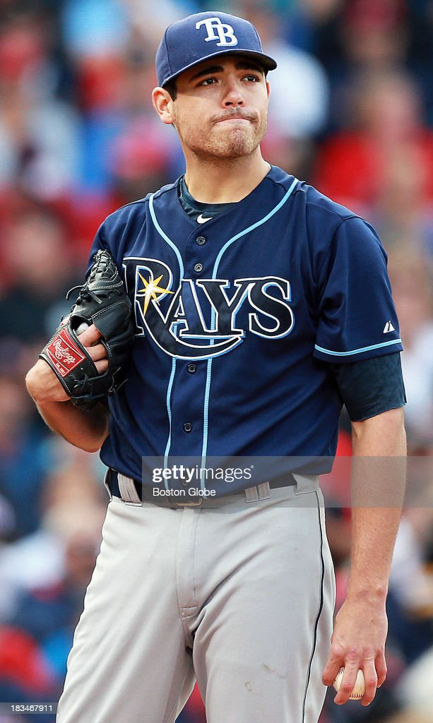 Rays starting pitcher Matt Moore on the mound as the Red Sox rough him up for five runs in the fourth inning. The Boston Red Sox take on the Tampa Bay Rays in Game One of the ALDS at Fenway Park.