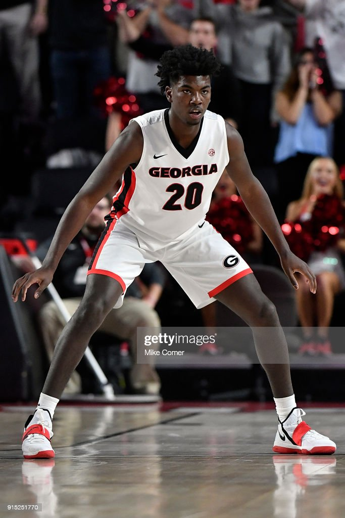 Rayshaun Hammonds #20 of the Georgia Bulldogs takes a defensive stance against the Florida Gators during the basketball game at Stegeman Coliseum on January 30, 2018 in Athens, Georgia.