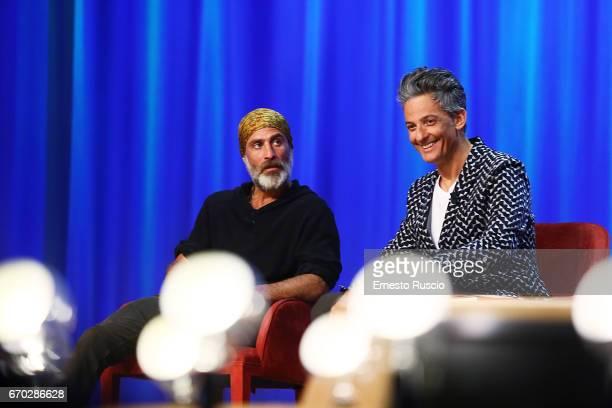 Raz Degan and Rosario Fiorello attend the Maurizio Costanzo Show on April 19 2017 in Rome Italy