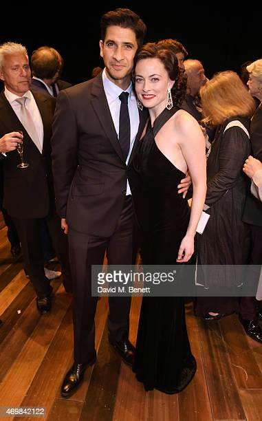 Raza Jaffrey and Lara Pulver attend a post show drinks reception on stage following the press night performance of 'Gypsy' at The Savoy Theatre on...