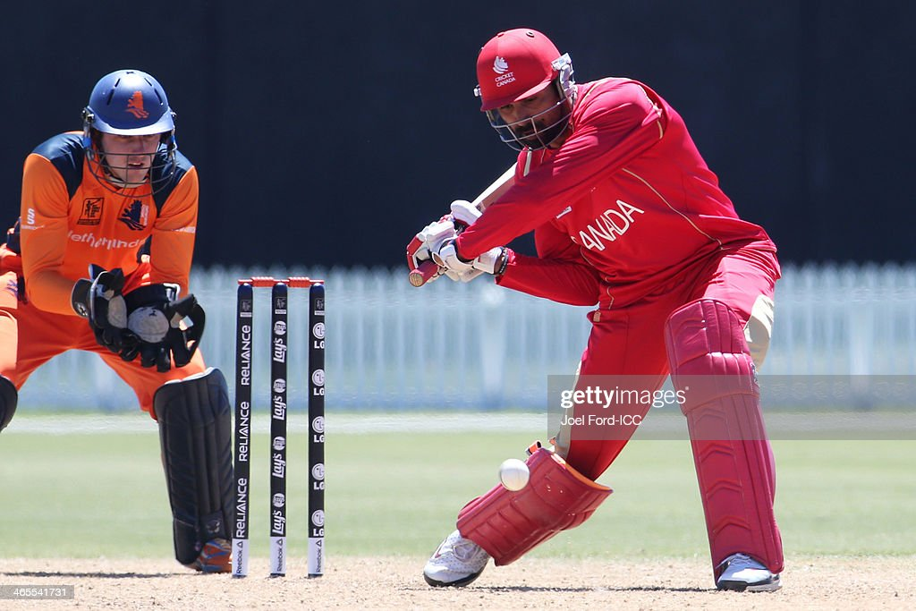 Raza Rehman of Canada plays a shot during an ICC World Cup qualifying playoff between The Netherlands and Canada on January 28, 2014 in Mount Maunganui, New Zealand.