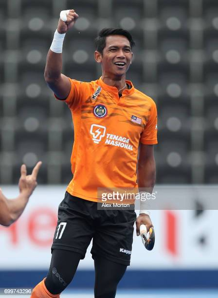 Razie Rahim of Malaysia celebrates scoring his teams first goal during the quarter final match between India and Malaysia on day seven of the Hero...