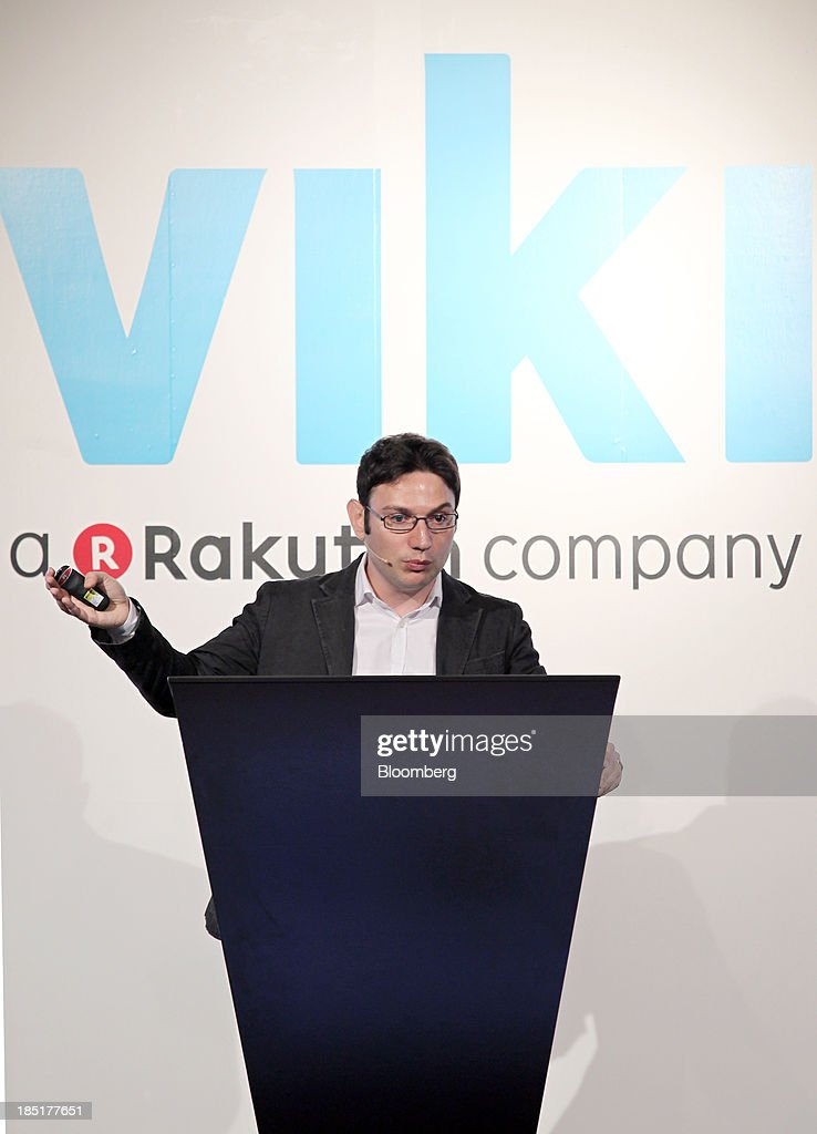Razmig Hovaghimian, chief executive officer and co-founder of Viki Inc., gestures as he speaks during a news conference in Tokyo, Japan, on Friday, Oct. 18, 2013. Rakuten Inc., controlled by billionaire Hiroshi Mikitani, last month agreed to buy streaming video service provider Viki Inc. as the Japanese Internet retailer seeks to expand into new digital offerings. Photographer: Junko Kimura/Bloomberg via Getty Images