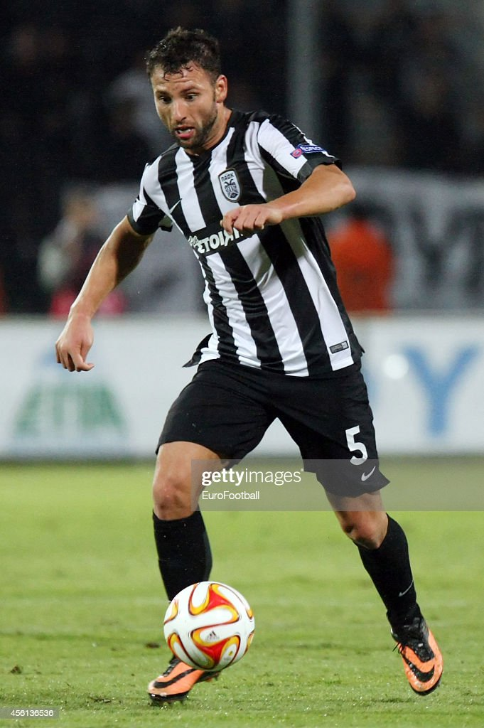 <a gi-track='captionPersonalityLinkClicked' href=/galleries/search?phrase=Razvan+Rat&family=editorial&specificpeople=2147212 ng-click='$event.stopPropagation()'>Razvan Rat</a> of PAOK FC in action during the UEFA Europa League match between Paok Thessaloniki and Dynamo Minsk at the Toumpa Stadium on September 18, 2014 in Thessaloniki,Greece.