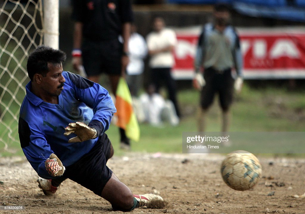 Rcf's goalkeeper Suhas Patil saves a penalty during tiebreaker against western railway in the final match of independence cup at St Xavier's ground...