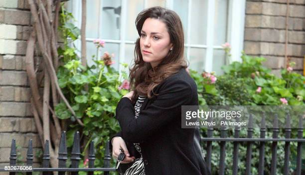 Re crop of previously transmitted image Kate Middleton outside her house in London on her 25th birthday