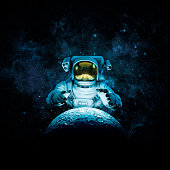 3D illustration of astronaut reaching for glowing moon