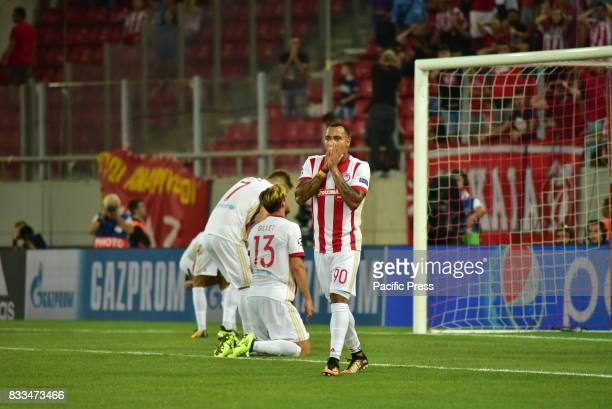 STADIUM PIRAEUS ATTIKI GREECE Reaction of players of Olympiacos after losing opportunity to score Olympiacos manage to win 21 against HNK Rijeka in...