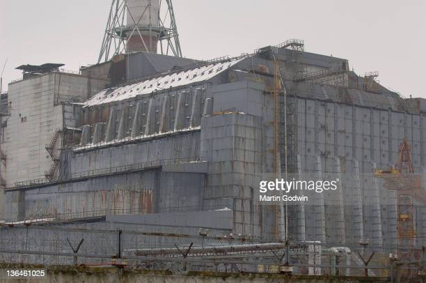 Reactor No4 at the Chernobyl nuclear power plant encased in its concrete sarcophagus Ukraine 17th March 2006