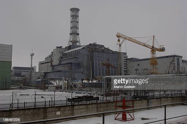 Reactor No4 at the Chernobyl nuclear power plant encased in its concrete sarcophagus 17th March 2006