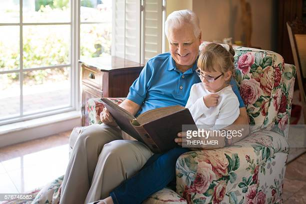 Reading a book with grandaughter