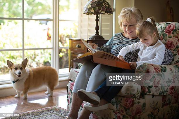 Reading an old book with grandma