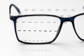 Reading black eyeglasses and eye chart close-up, shallow depth of field