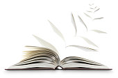 Conceptual image of an open novel or book with pages flying away as if turning into winged birds. The image is isolated on a white background with a drop shadow placing the book on the white surface.