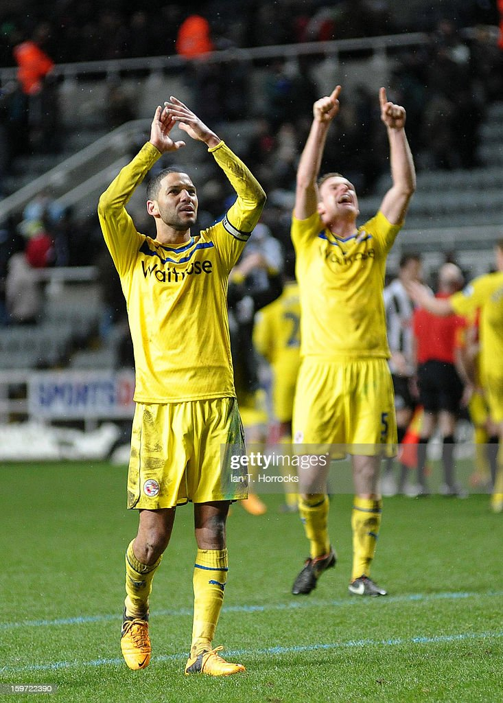 Reading captain Jobi McAnuff (L) celebrates their victory with his team-mates after the Barclays Premier League match between Newcastle United and Reading at St James' Park on January 19, 2013 in Newcastle upon Tyne, England.
