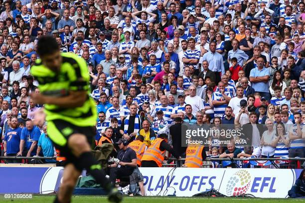 Reading fans look on as Christopher Schindler of Huddersfield Town scores the winning penalty during the Sky Bet Championship Play Off Final match...
