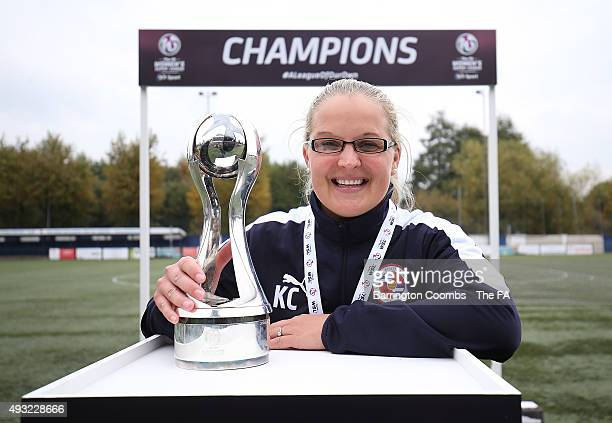 Reading FC Women's manager Kelly Chambers celebrates winning the 2nd division title during the FA Womens Super League 2 match between Aston Villa...