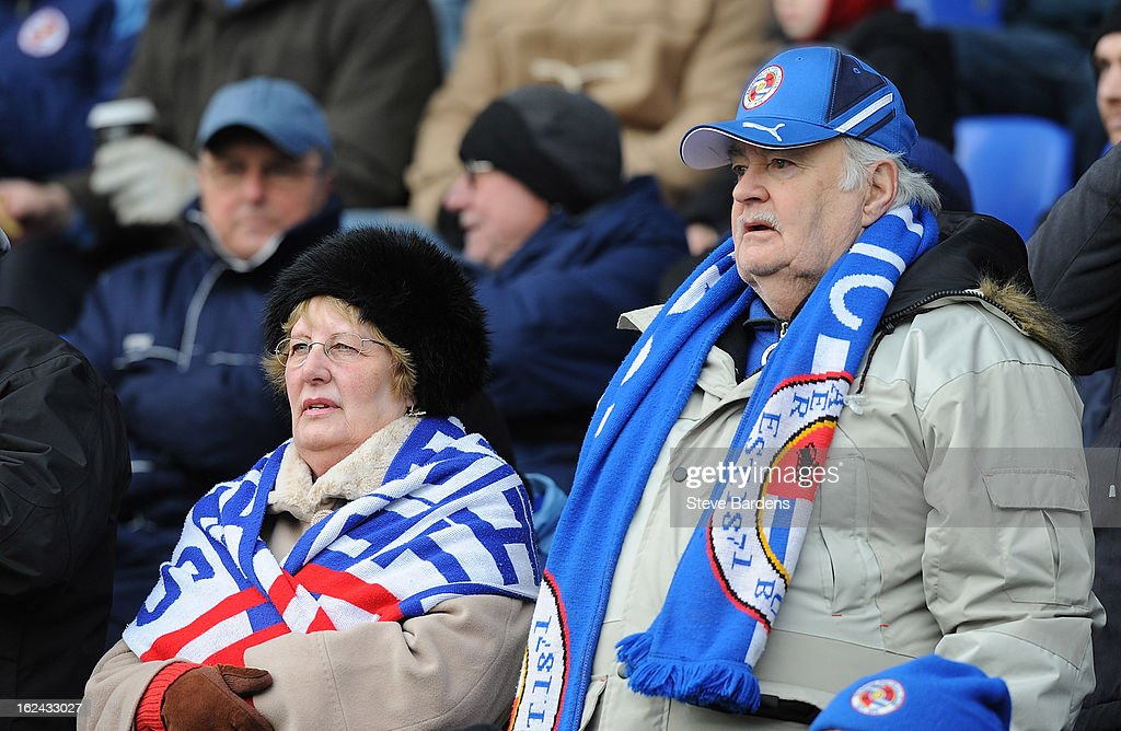 Reading football fans wrap up against the cold before the Barclays Premier League match between Reading and Wigan Athletic at Madejski Stadium on February 23, 2013 in Reading, England.