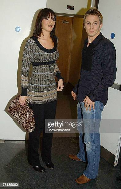 Reading Footballer Kevin Doyle and his girlfriend Jennifer Harney attend the RTE Studios as guests on the Tubridy Show on January 27 2007 in Dublin...