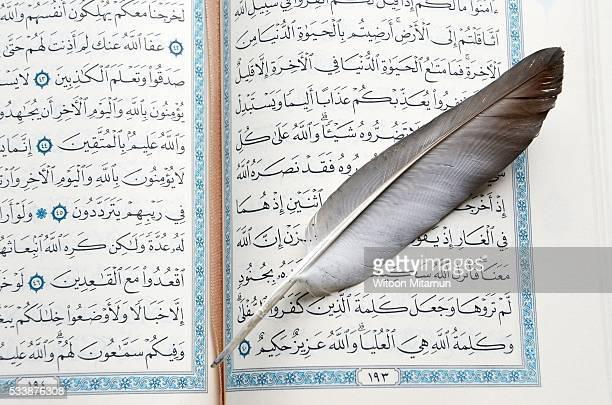 Reading Holy Quran(Islamic Book) in Ramadan Night.