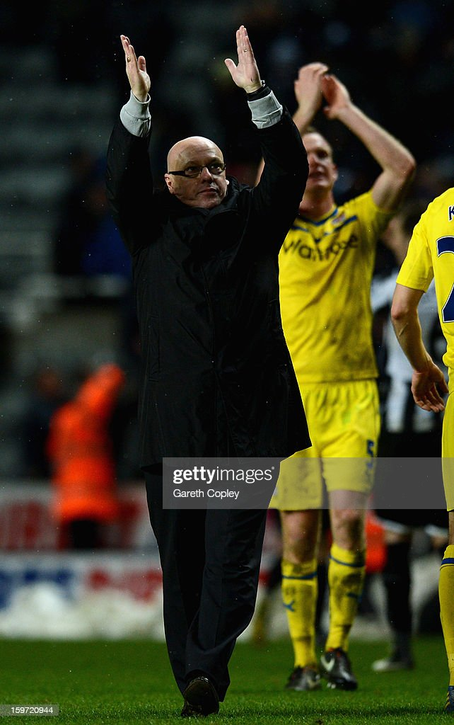 Reading manager Brian McDermott celebrates after the Barclays Premier League match between Newcastle United and Reading at St James Park on January 19, 2013 in Newcastle upon Tyne, England.