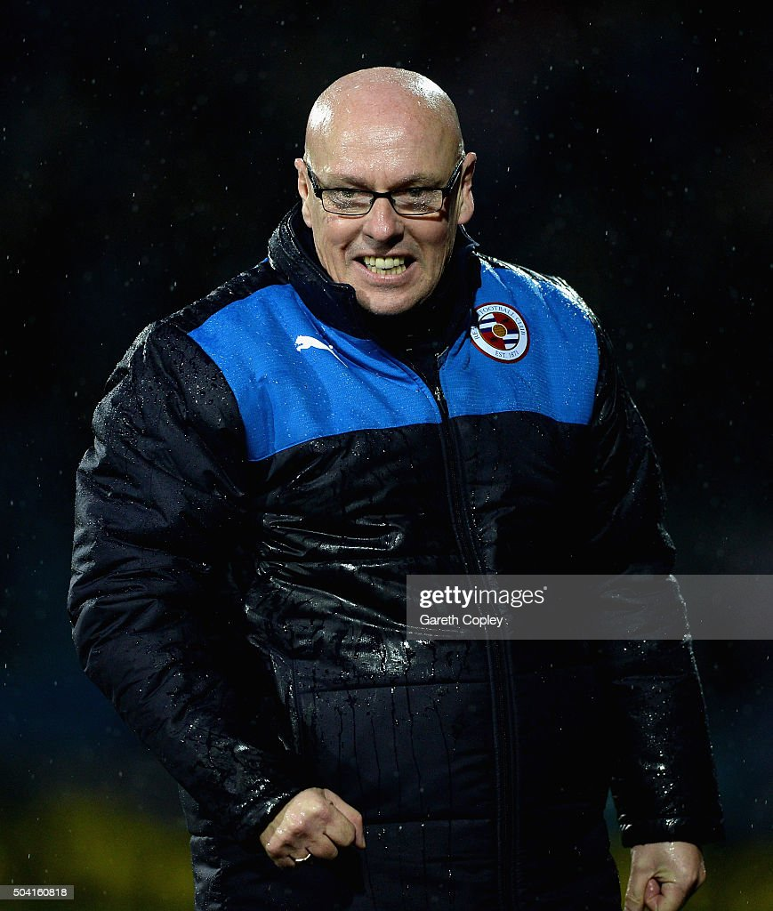 Reading manager Brian McDermott celebrates his team scoring during The Emirates FA Cup Third Round between Huddersfield Town and Reading at John Smiths Stadium on January 9, 2016 in Huddersfield, England.