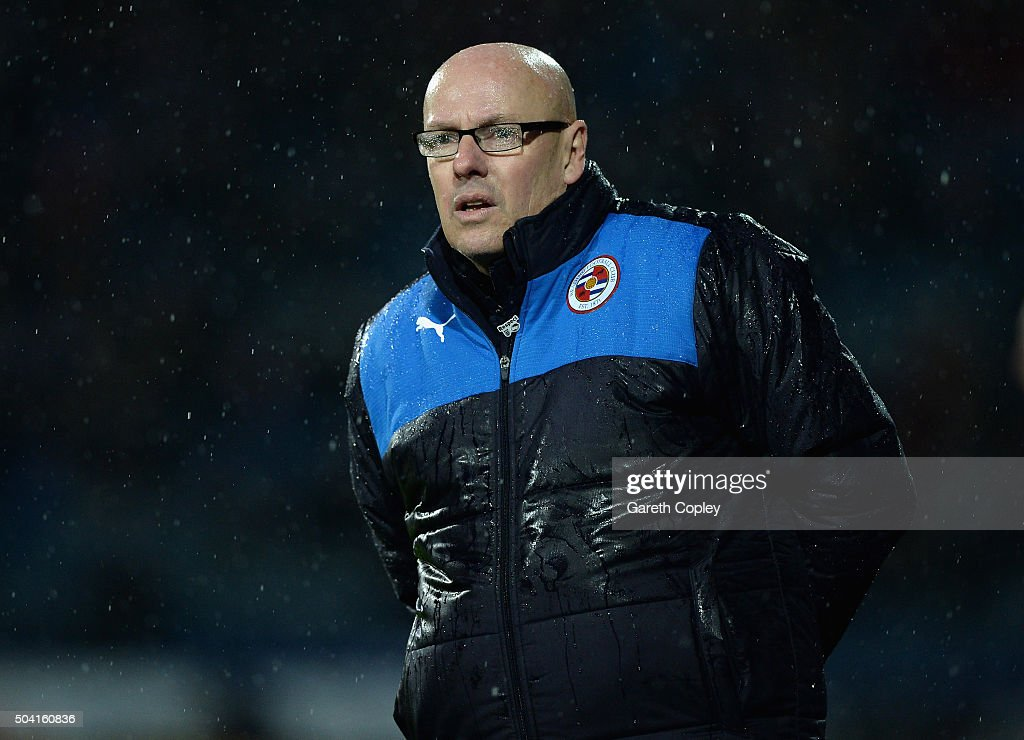 Reading manager <a gi-track='captionPersonalityLinkClicked' href=/galleries/search?phrase=Brian+McDermott+-+Soccer+Manager&family=editorial&specificpeople=9647614 ng-click='$event.stopPropagation()'>Brian McDermott</a> during The Emirates FA Cup Third Round between Huddersfield Town and Reading at John Smiths Stadium on January 9, 2016 in Huddersfield, England.