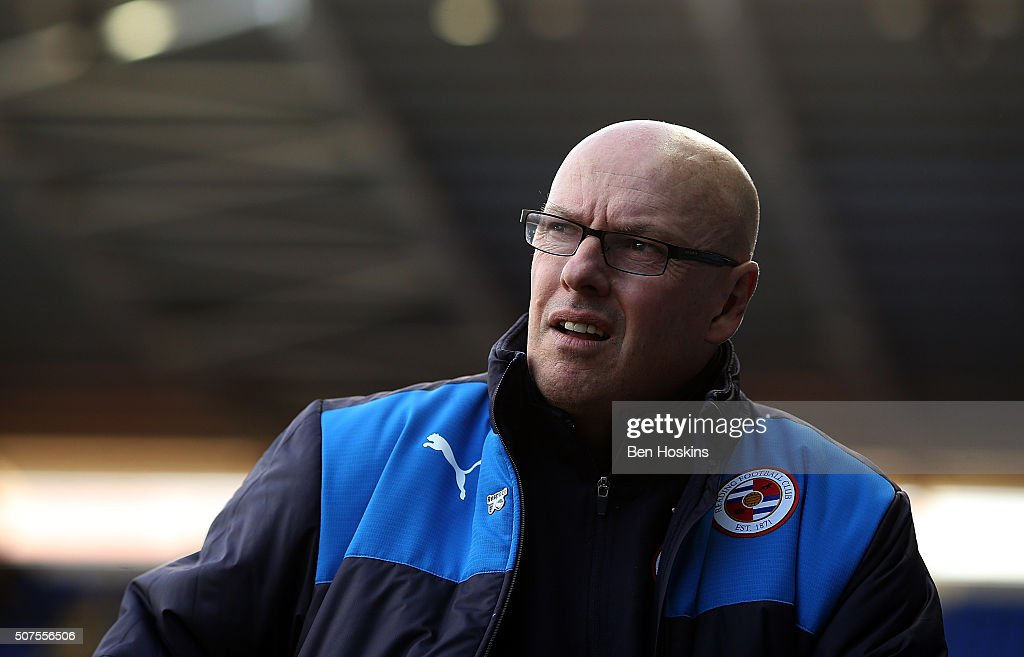 Reading manager Brian McDermott looks on ahead of The Emirates FA Cup Fourth Round match between Reading and Walsall at Madejski Stadium on January 30, 2016 in Reading, England.