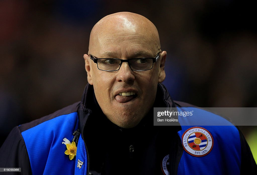 Reading manager <a gi-track='captionPersonalityLinkClicked' href=/galleries/search?phrase=Brian+McDermott+-+Fotbollstr%C3%A4nare&family=editorial&specificpeople=9647614 ng-click='$event.stopPropagation()'>Brian McDermott</a> looks on ahead of the Sky Bet Championship match between Reading and Nottingham Forest at the Madejski Stadium on April 5, 2016 in Reading, United Kingdom.