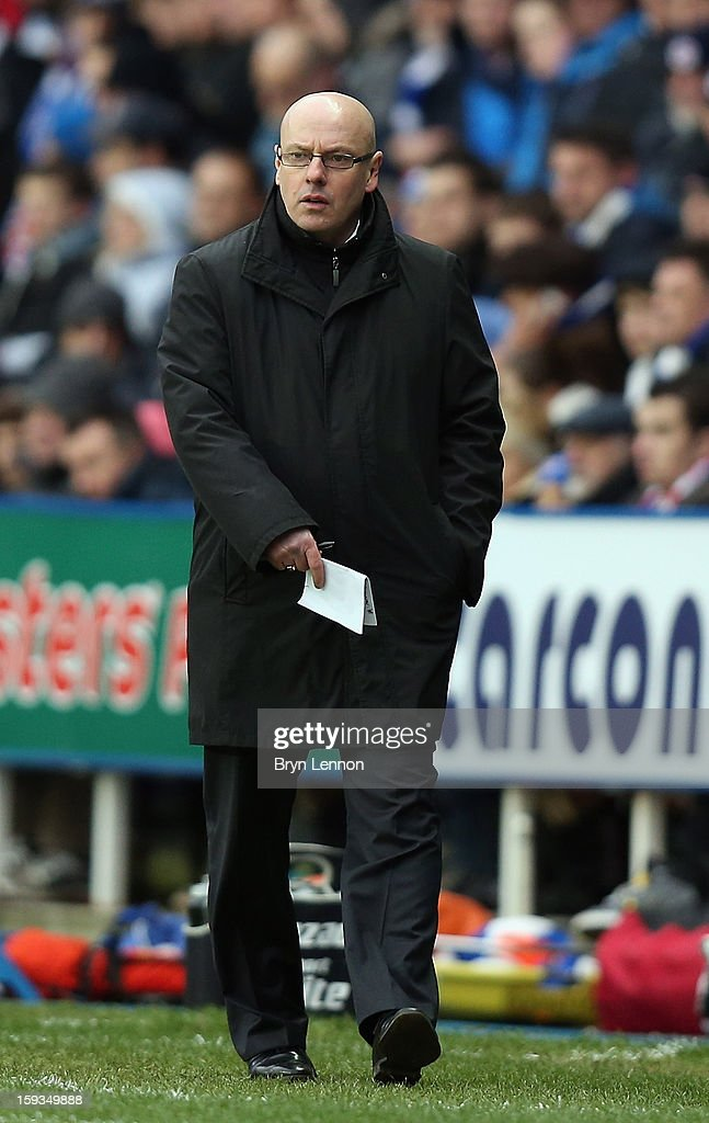 Reading Manager Brian McDermott looks on during the Barclays Premier League match between Reading and West Bromwich Albion at the Madejski Stadium on January 12, 2013 in Reading, England.