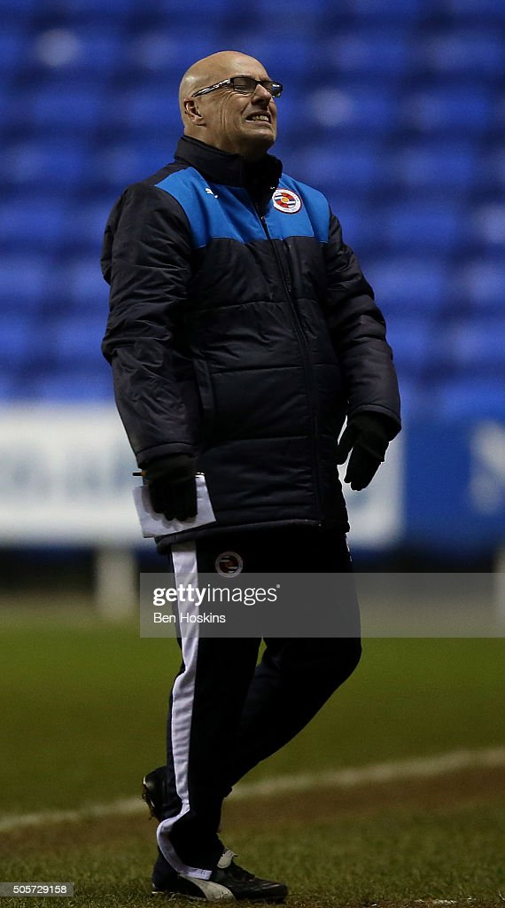 Reading manager Brian McDermott reacts during The Emirates FA Cup Second Round match between Reading and Huddersfield Town at Madejski Stadium on January 19, 2016 in Reading, England.