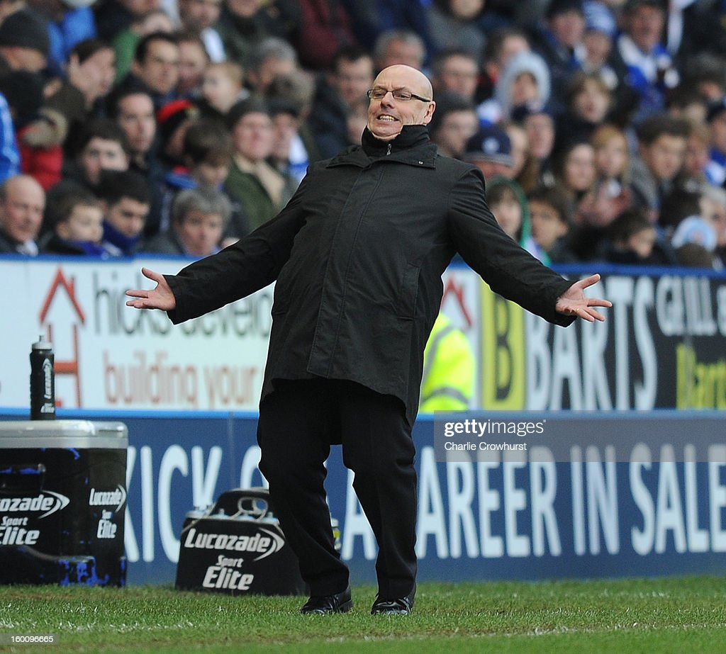 Reading manager Brian McDermott shows his frustration during the FA Cup Fourth Round match between Reading and Sheffield United at the Madejski Stadium on January 26, 2013 in London England.