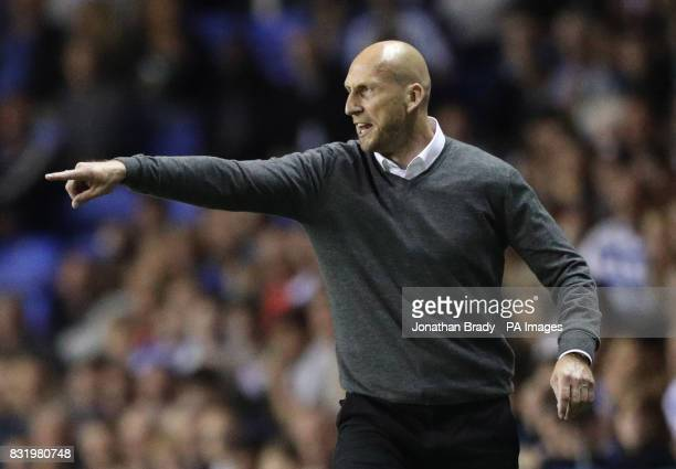 Reading manager Jaap Stam during the Sky Bet Championship match at the Madjeski Stadium Reading