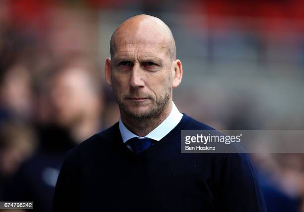 Reading manager Jaap Stam looks on ahead of the Sky Bet Championship match between Reading and Wigan Athletic at Madejski Stadium on April 29 2017 in...